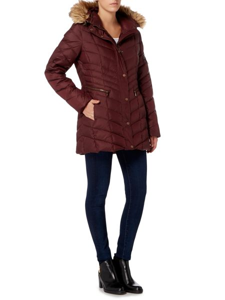 Andrew Marc Padded Coat with Faux Fur Hood