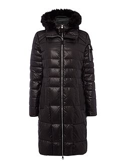 Longline Wet Look Padded Coat