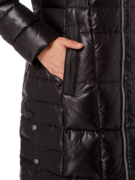 Andrew Marc Longline Wet Look Padded Coat