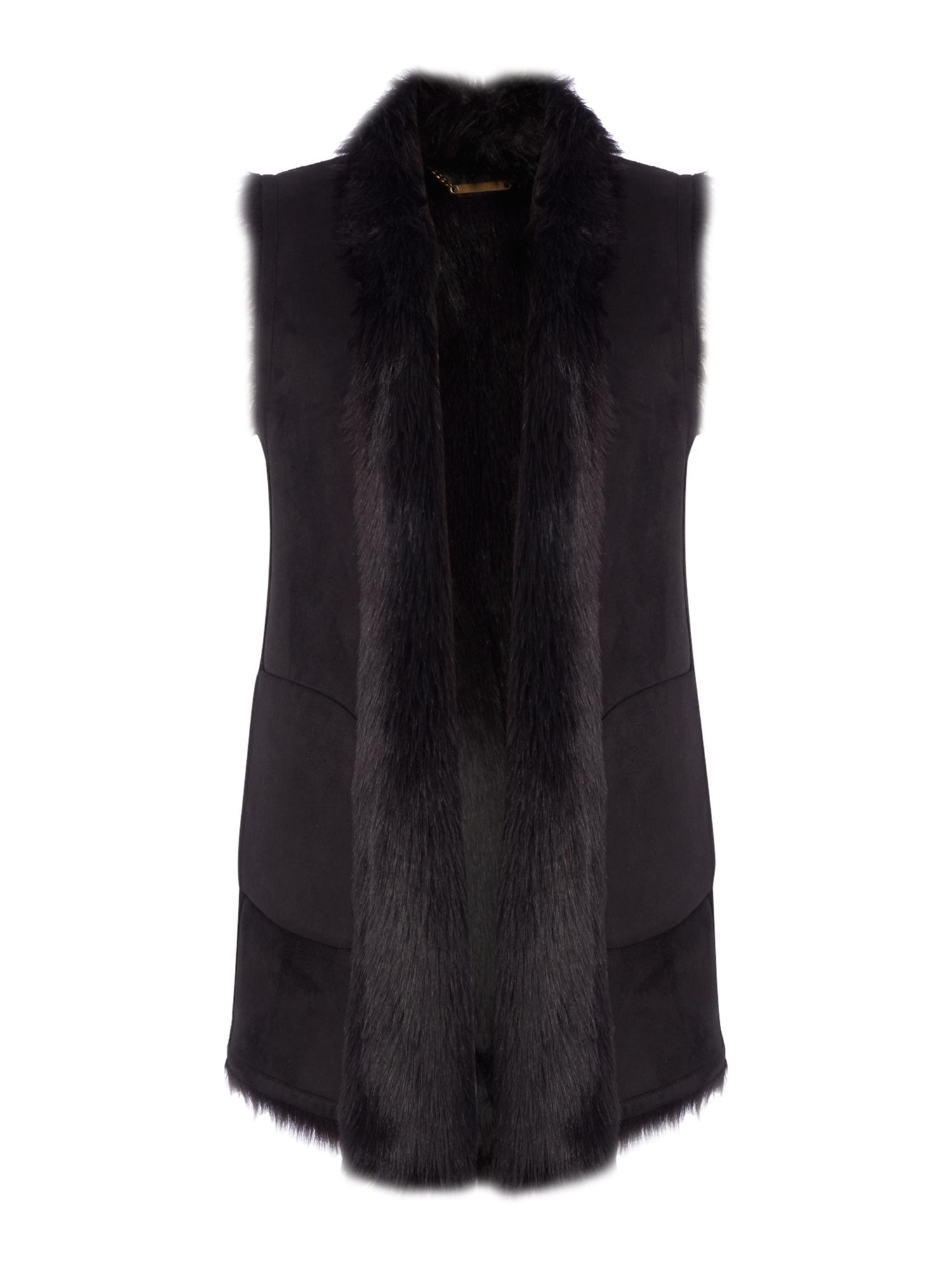 Andrew Marc Faux Shearling Gilet, Black