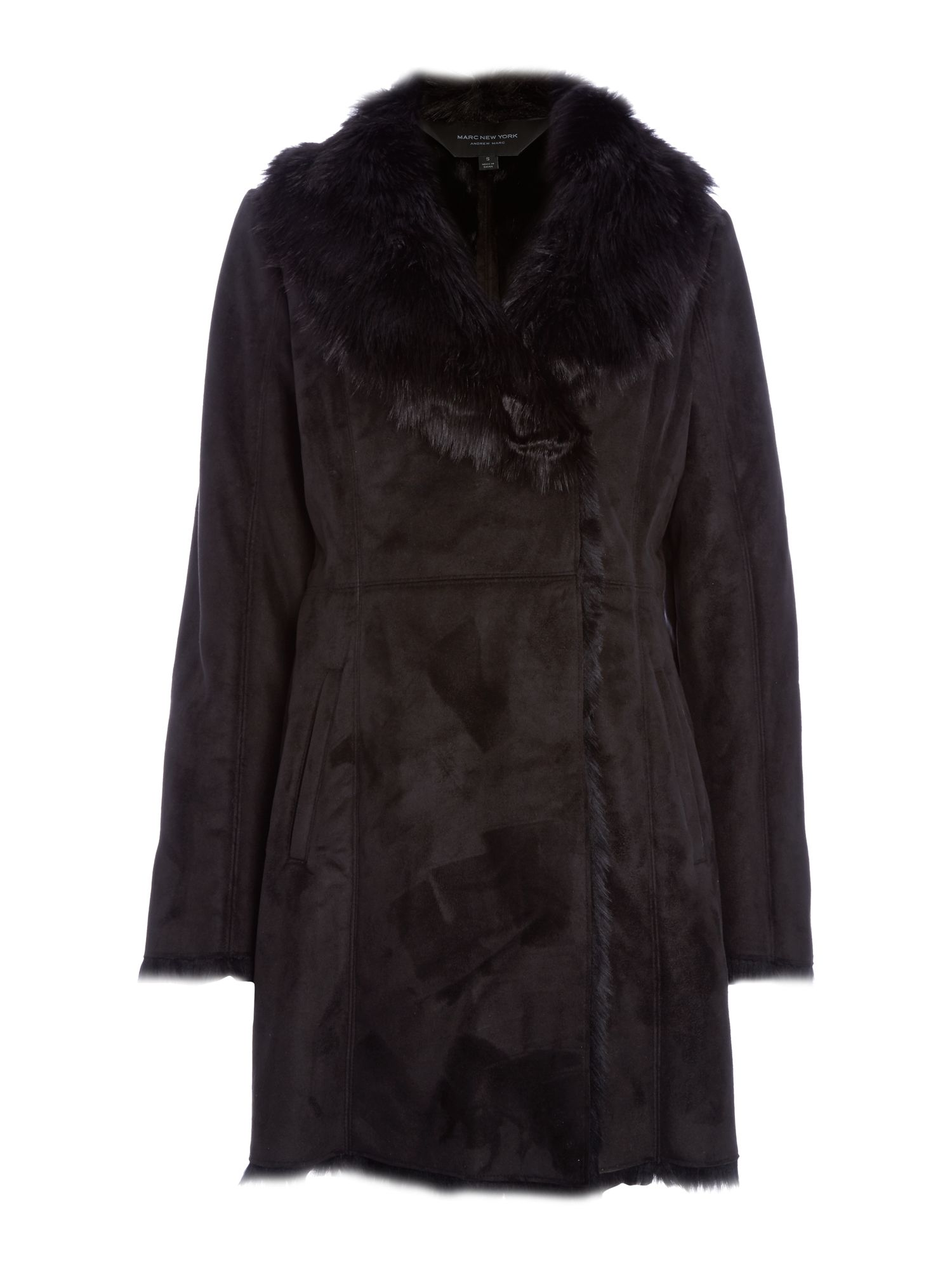 Andrew Marc Faux Shearling Coat Black