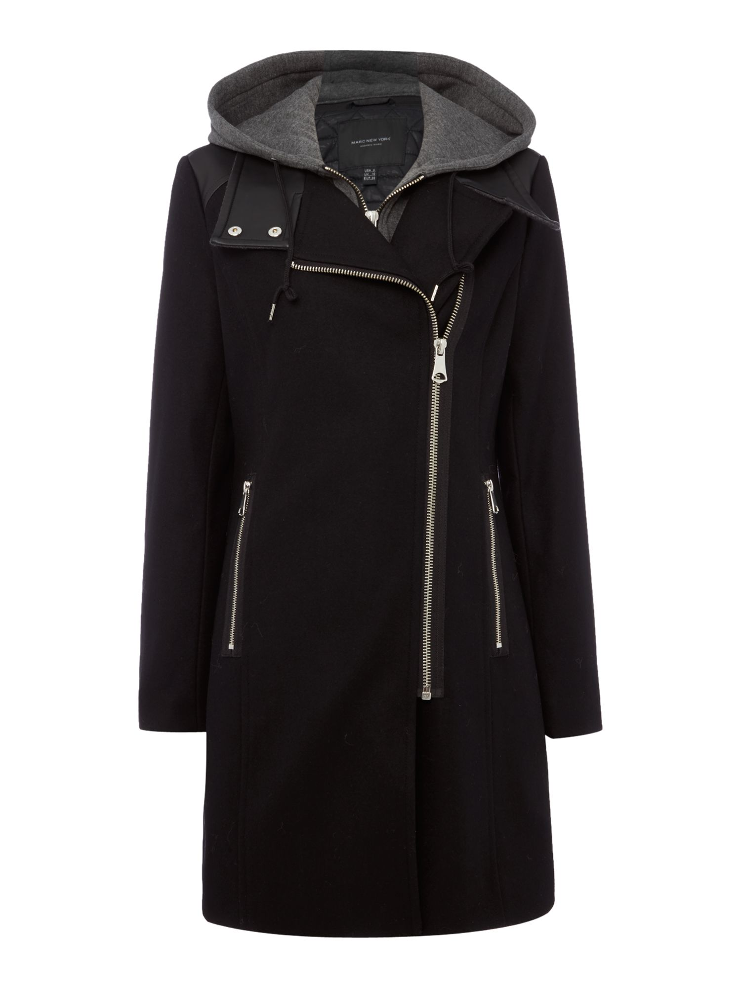 Andrew Marc Wool Coat with Faux Leather Trim, Black