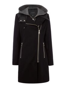 Andrew Marc Wool Coat with Faux Leather Trim