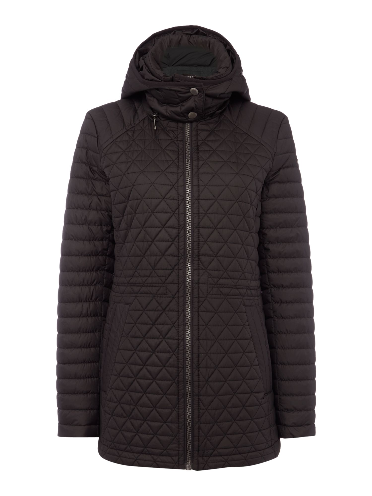 Andrew Marc Quilted Hooded Anorak Black