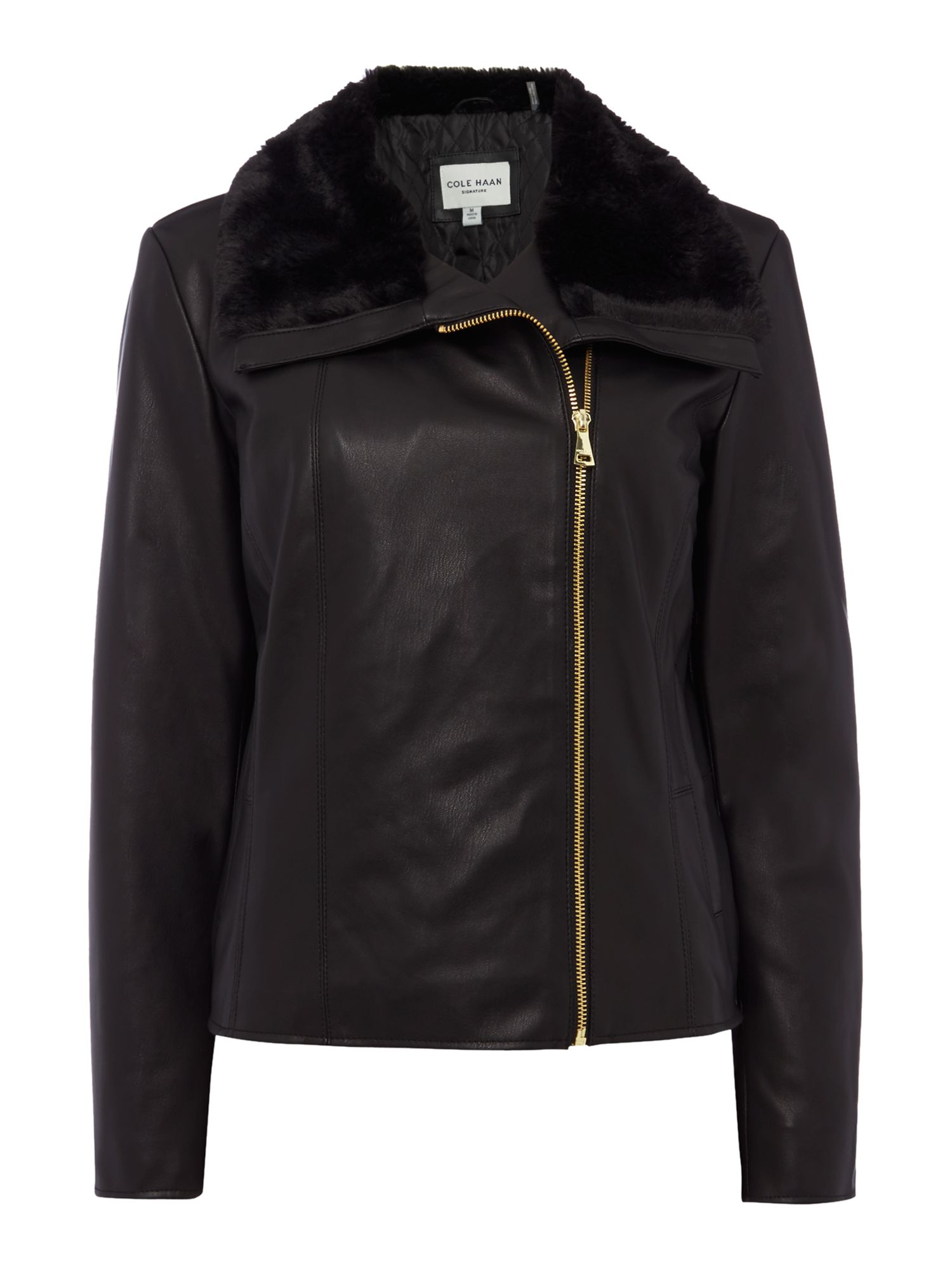 Cole Haan Faux Leather Jacket with Faux Fur Collar, Black