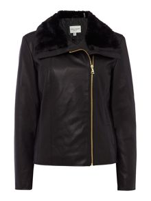 Andrew Marc Faux Leather Jacket with Faux Fur Collar