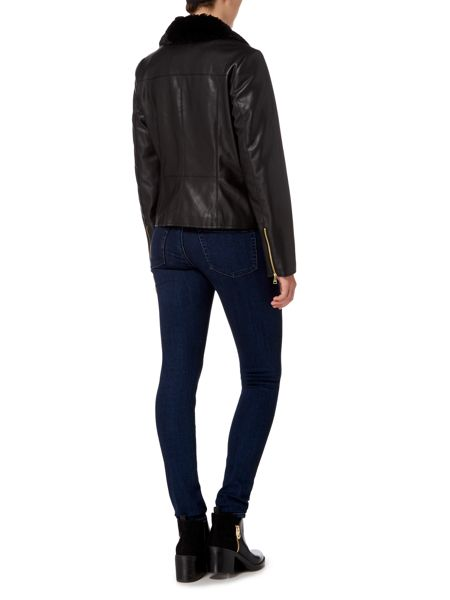 Cole Haan Faux Leather Jacket with Faux Fur Collar