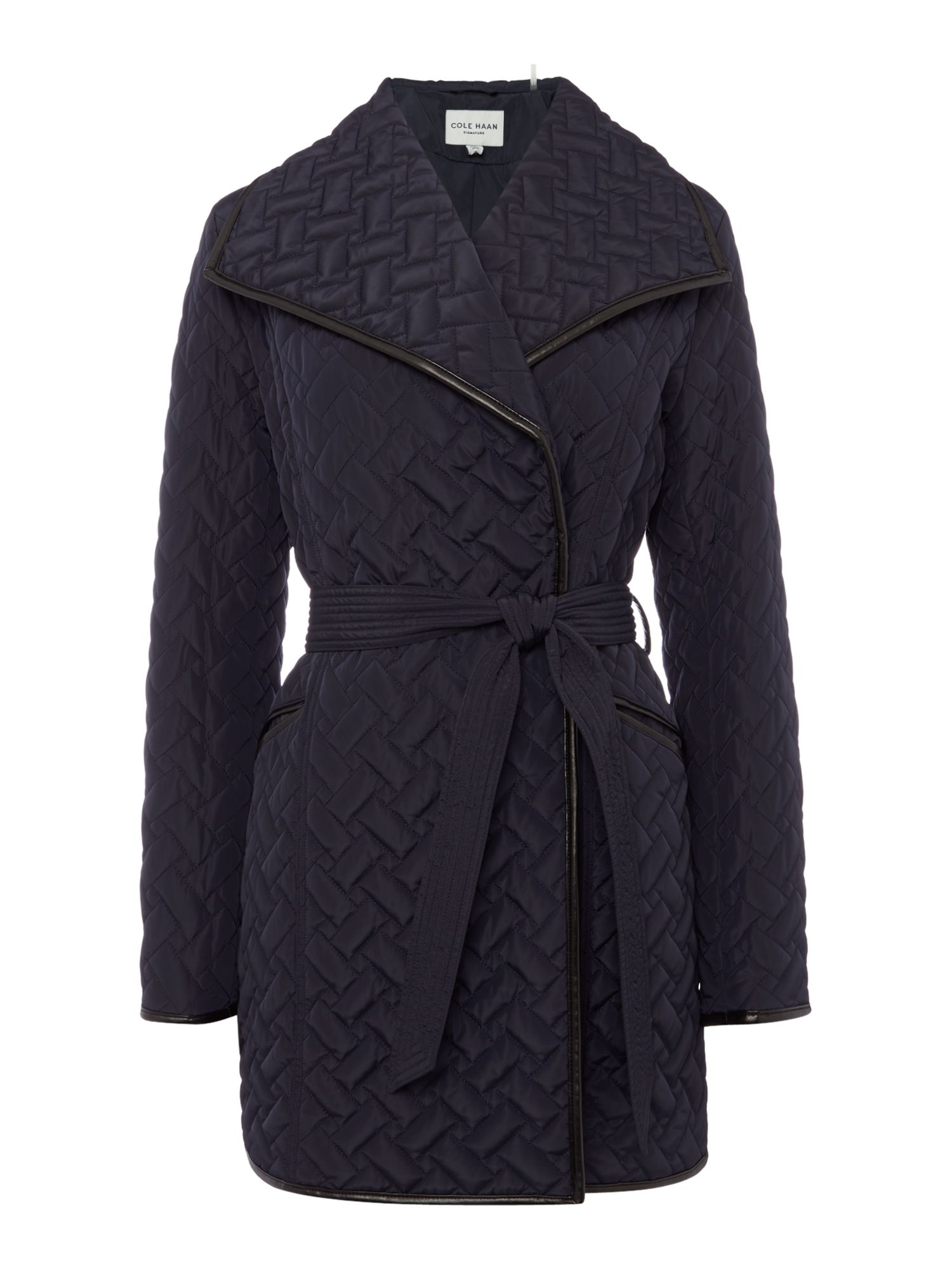 Cole Haan Cole Haan Quilted wrap coat with belt, Navy
