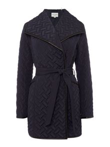 Cole Haan Quilted wrap coat with belt