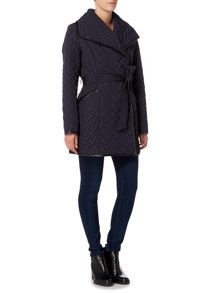 Andrew Marc Quilted wrap coat with belt