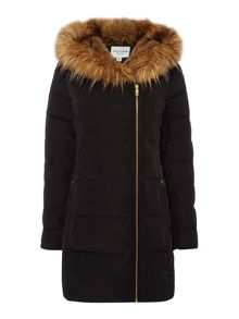 Andrew Marc Quilted parka with faux fur hood