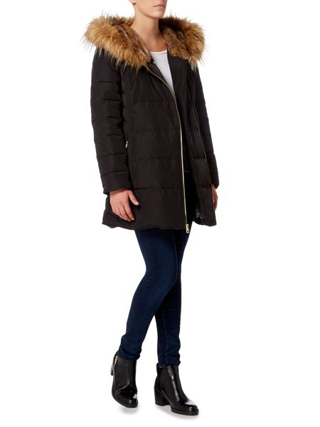 Cole Haan Quilted parka with faux fur hood