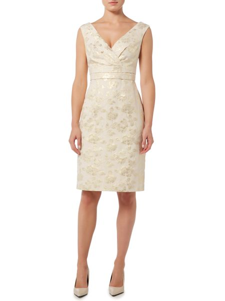 Shubette Sleeveless jacquard dress with v neck