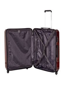 Delsey Axial elite burgundy 4 wheel hard large suitcase
