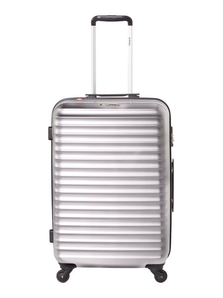 Delsey Axial elite silver 4 wheel hard medium suitcase