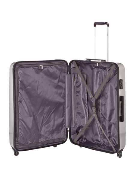 Delsey Axial elite silver 4 wheel hard large suitcase