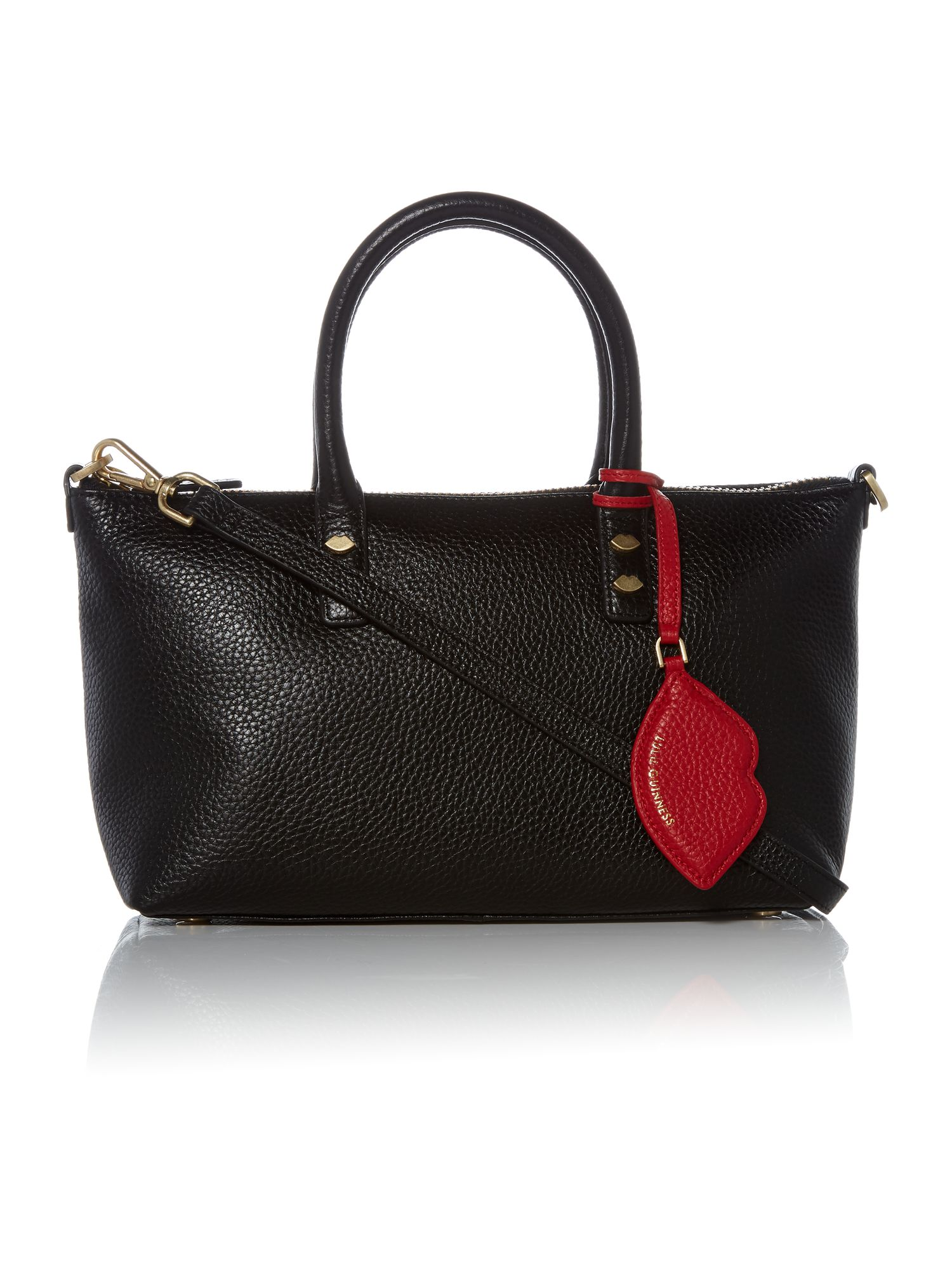 Lulu Guinness Frances Small Tote Bag with Lip Charm, Black