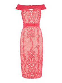 Little Mistress Sleeveless Off Shoulder Lace Overlay Midi Dress