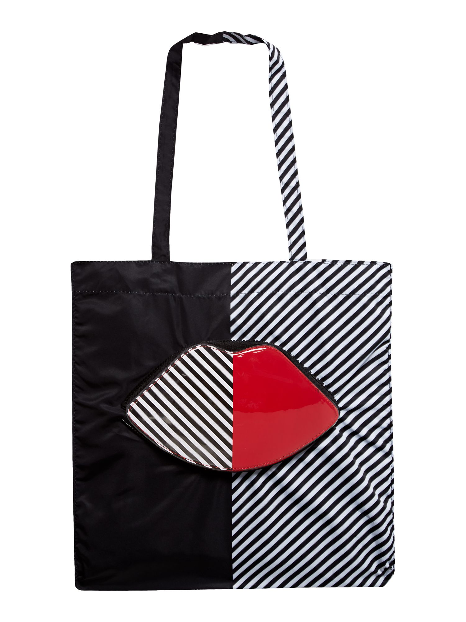 Lulu Guinness 50:50 Lip Foldaway Tote Bag, Multi-Coloured