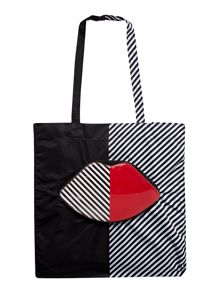 Lulu Guinness 50:50 multi-coloured lip foldaway tote bag