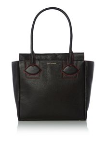 Lulu Guinness Lyra black medium lip applique tote bag
