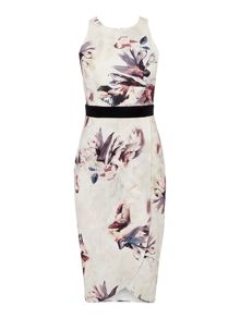 Little Mistress Sleeveless Printed Bodyon Dress