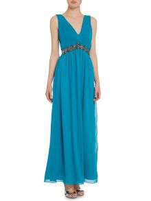 Little Mistress Sleeveless Plunge Maxi Dress