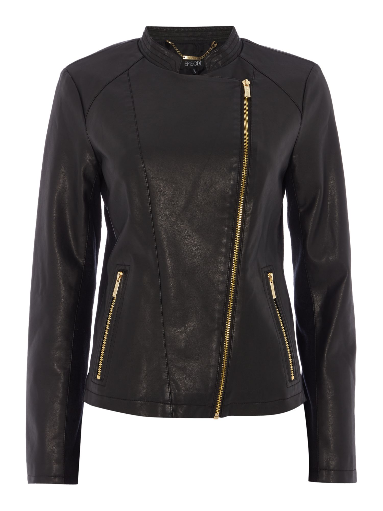 Episode PU jacket with gold hardware, Black