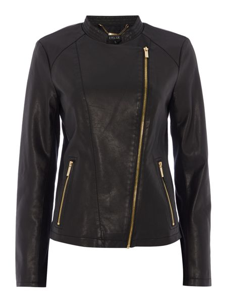 Episode PU jacket with gold hardware