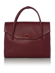 Lulu Guinness Madeline burgundy medium grab bag