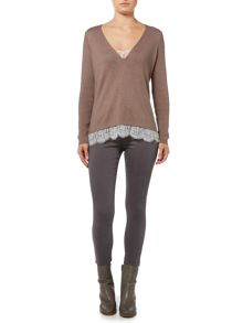 Gray & Willow Swada lace detail knitted jumper