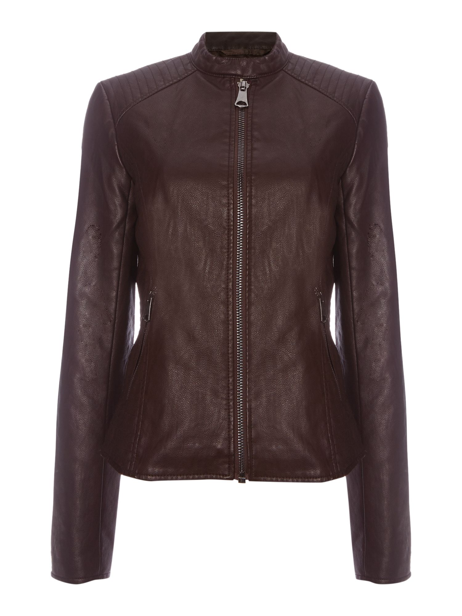 Andrew Marc Pebbled PU Biker Jacket, Dark Red