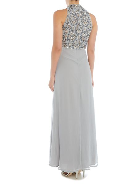 Lace and Beads Sleeveless High Neck Maxi Dress