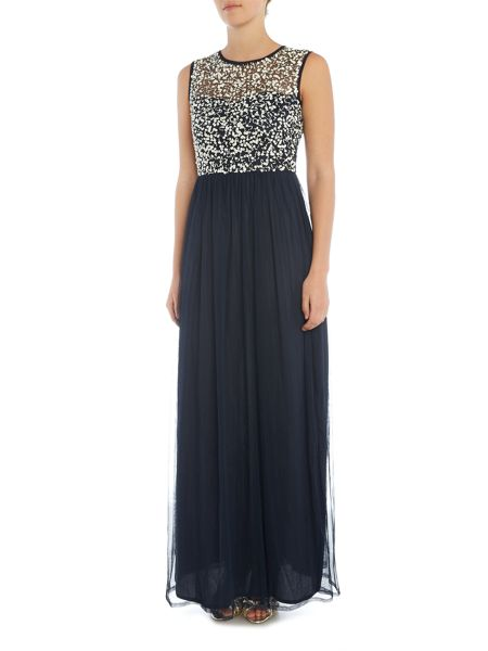 Lace and Beads Sleeveless Embellished Top Maxi Dress