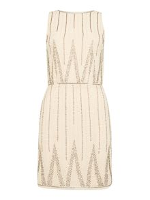 Lace and Beads Sleeveless Clinched Waist Dress