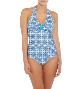 Dickins & Jones Tile Print Halter Swimsuit