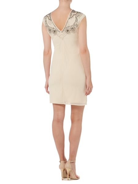 Lace and Beads Sleeveless Embellished Bodycon Dress