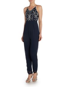 Lace and Beads Sleeveless Embellished Top Slim Leg Jumpsuit