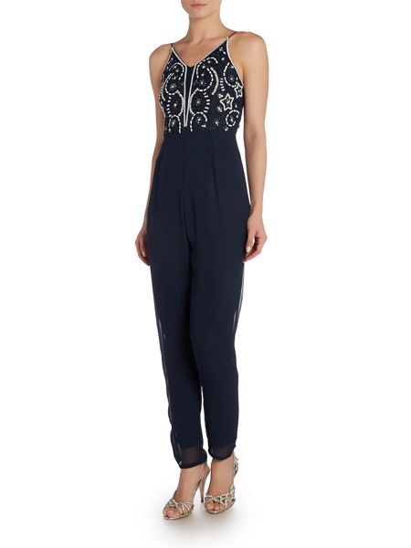 Lace and Beads SLEEVELESS SLIM LEG JUMPSUIT