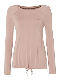 Long sleeve top with drawstring hem