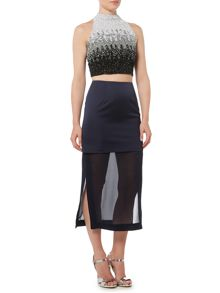 Lace and Beads Sleeveless High Neck Ombre Crop Top