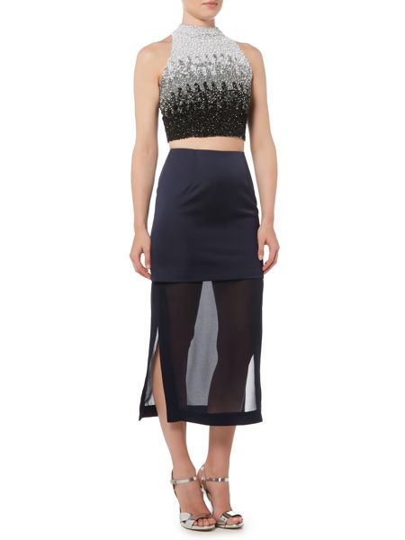 Lace and Beads SLEEVELESS OMBRE HIGH NECK CROP