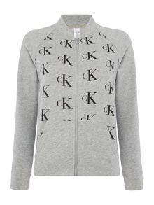 Calvin Klein All over logo lounge bomber top