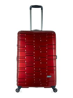 Prism burgundy 4 wheel hard large suitcase