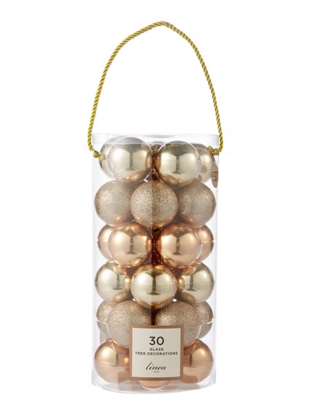 Linea Set of 30 Glass bauble pack in bronze and gold