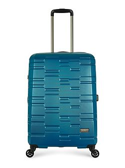 Prism embossed teal 4 wheel hard medium suitcase