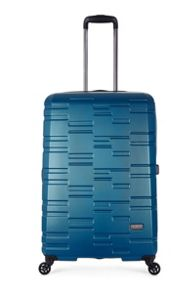 Antler Prism embossed teal 4 wheel hard large suitcase