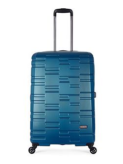 Prism embossed teal 4 wheel hard large suitcase