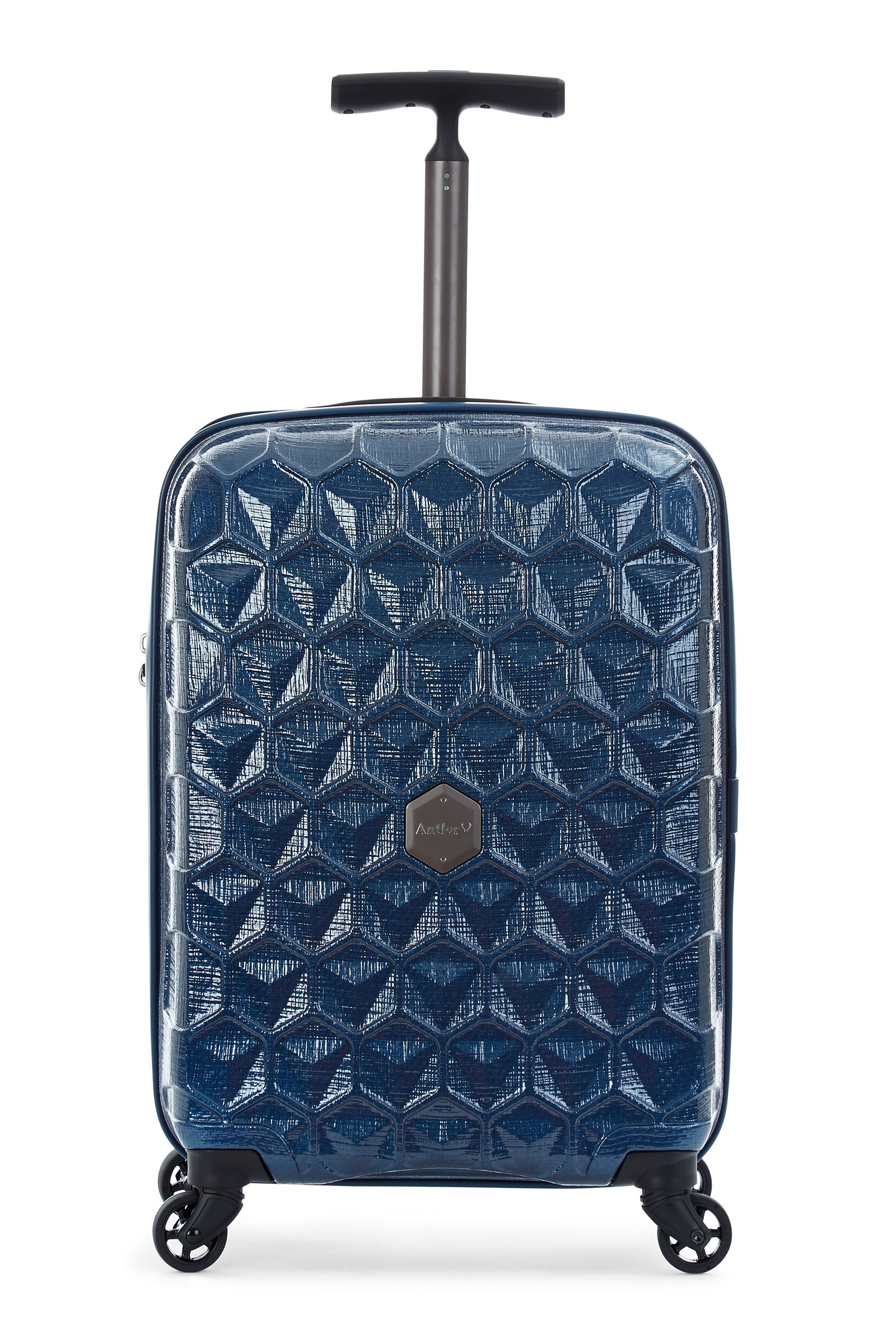 Antler Atom blue 4 wheel hard cabin suitcase Blue