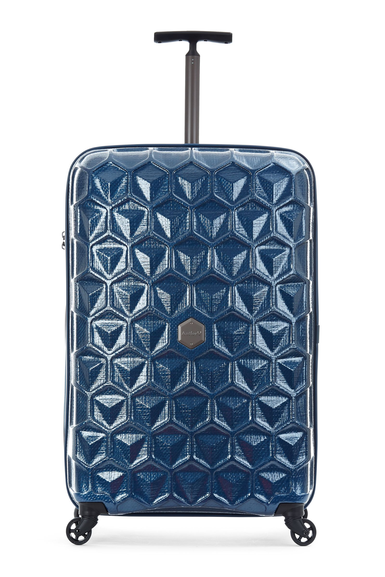Antler Atom blue 4 wheel hard large suitcase Blue